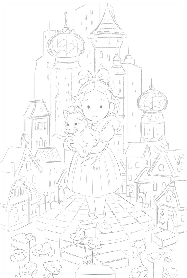 Wizard of Oz book cover sketch for class