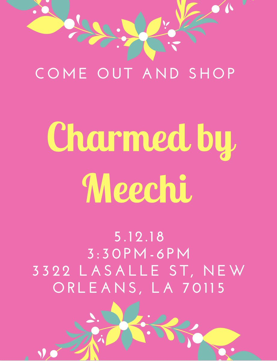 I am beyond blessed &amp; ecstatic to announce my very first pop up shop! I would love if you guys come out and shop my bracelet line, Charmed by Meechi. Thanks for the support! #RETWEEET #supportsmallbusiness #shoplocal<br>http://pic.twitter.com/bEY3qwqQzP