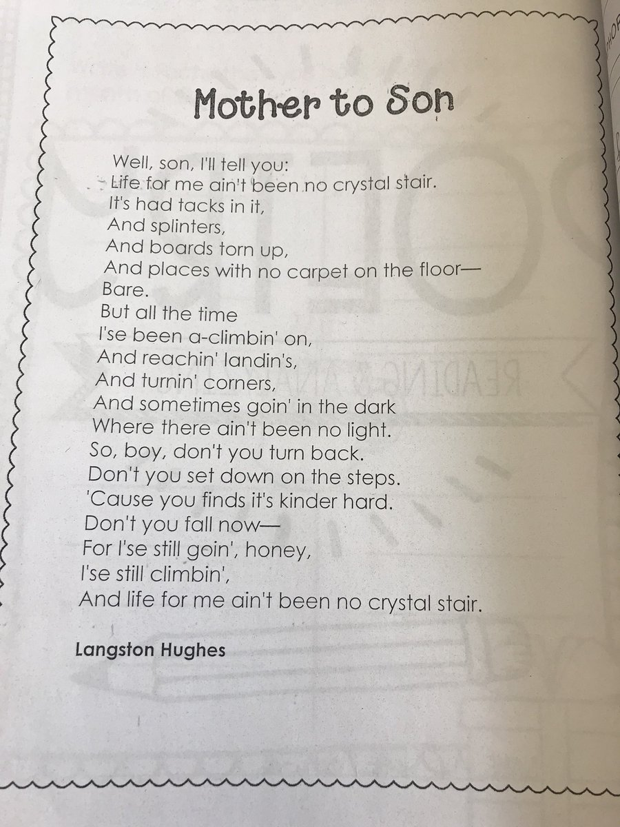 langston hughes mother to son theme