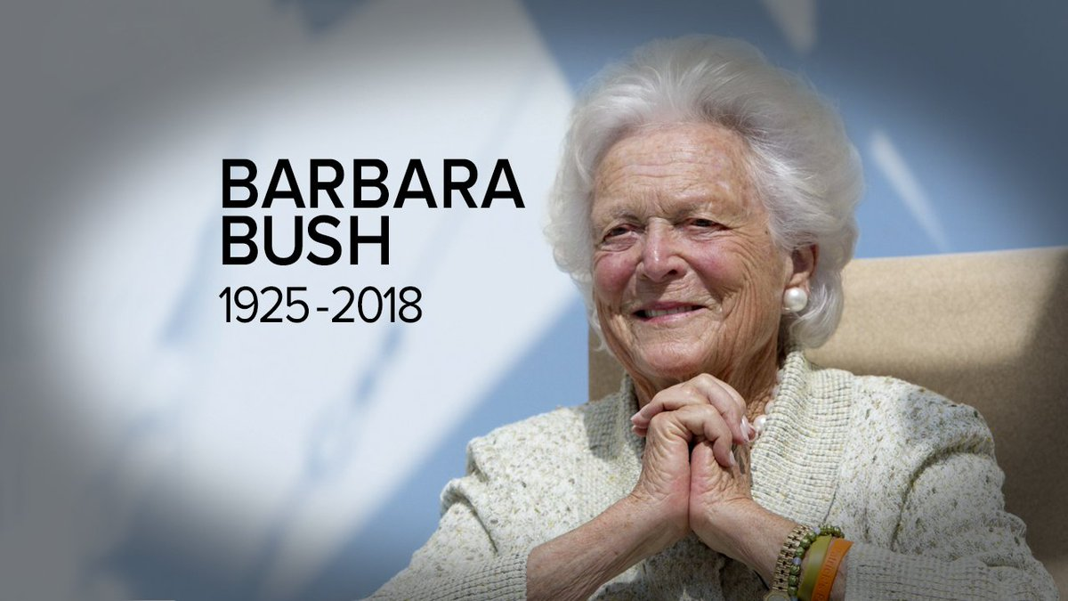 BREAKING: Former first Lady Barbara Bush has died at age 92, family spokesperson says. https://t.co/O0pXTKDQ3y