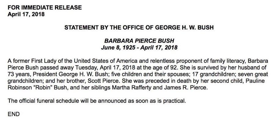 DbBcE5FW0AIS-lQ?format=jpg&name=900x900 EUA. Morreu Barbara Bush, mulher e mãe de Presidentes