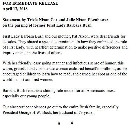 DbBlm1AUMAIpuA9?format=jpg&name=900x900 EUA. Morreu Barbara Bush, mulher e mãe de Presidentes