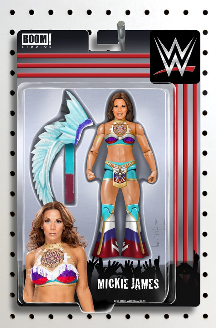 In stores today! Go to your local comic book shop to get my latest action figure cover for @WWEpublishing #16 feat @MickieJames! Its special to me, as both my 50th comic cover & I actually designed her real outfit! To WIN a #FREE copy retweet & follow! Ends: 4/25/18 #RTtoW
