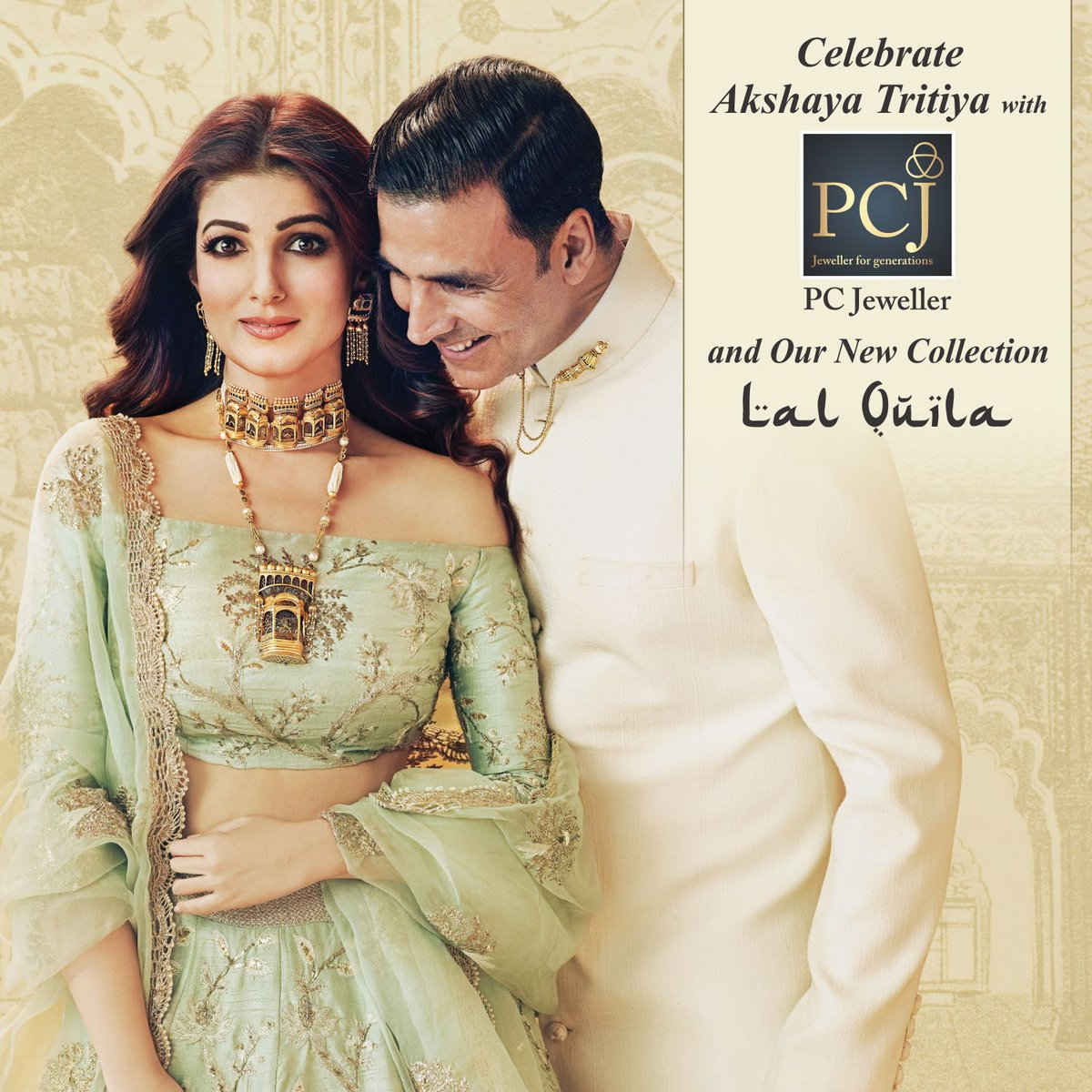 Wishing all our patrons Happy #AkshayaTritiya. Like our brand ambassadors @akshaykumar &amp; @mrsfunnybones you too can own this magnificent #LalQuila collection. Avail flat 20% off on #Diamond #Jewellery and making charges of #Gold &amp; #Silver #Jewellery &amp; #Articles. <br>http://pic.twitter.com/ouHQ0jfOan