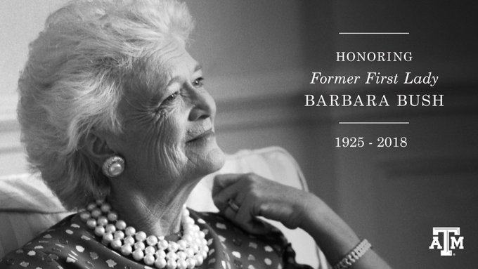 "photo of Mrs. Barbara Bush with the text: ""Honoring Former First Lady Barbara Bush, 1925-2018"""