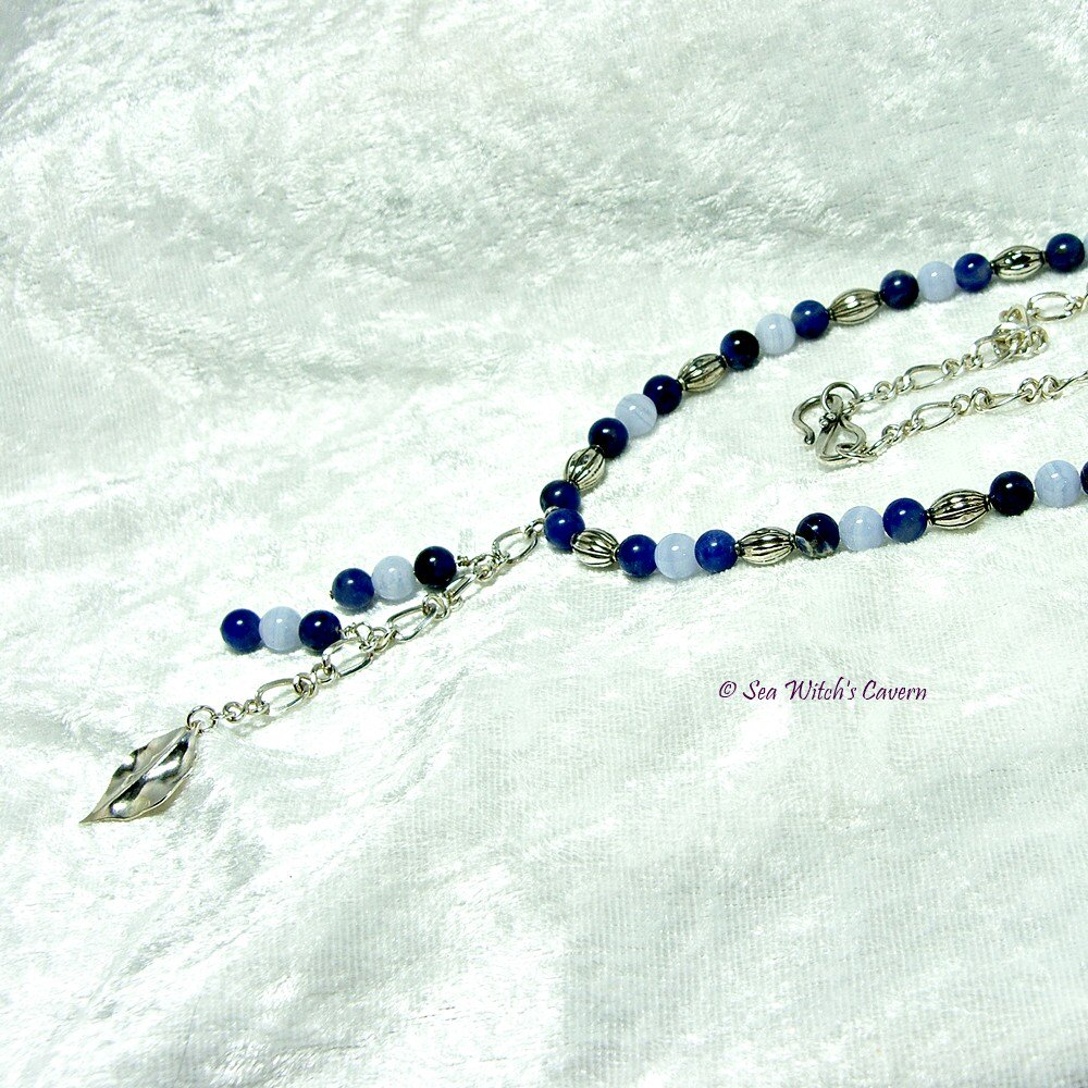 Gemstone #Necklace For Women with #Sodalite and Blue Lace Agate  http:// etsy.me/2cgSNZA  &nbsp;   #OnlineCraft #CraftShout #ukbiz #etsymntt  #bizclubUK #shopsmall<br>http://pic.twitter.com/HgNCUaCg12