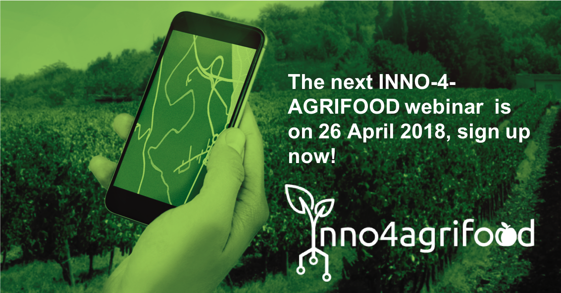 The next INNO-4-AGRIFOOD webinar will take place on the 26 April 2018. Sign up now to make sure you don't miss out! #agribusiness #RuralDevEU #consultancy #agrifood #SME  http:// inno4agrifood.eu/webinars/3/joi n-us-at-the-3rd-inno-4-agrifood-deployment-webinar &nbsp; … <br>http://pic.twitter.com/0uKu2p8sem