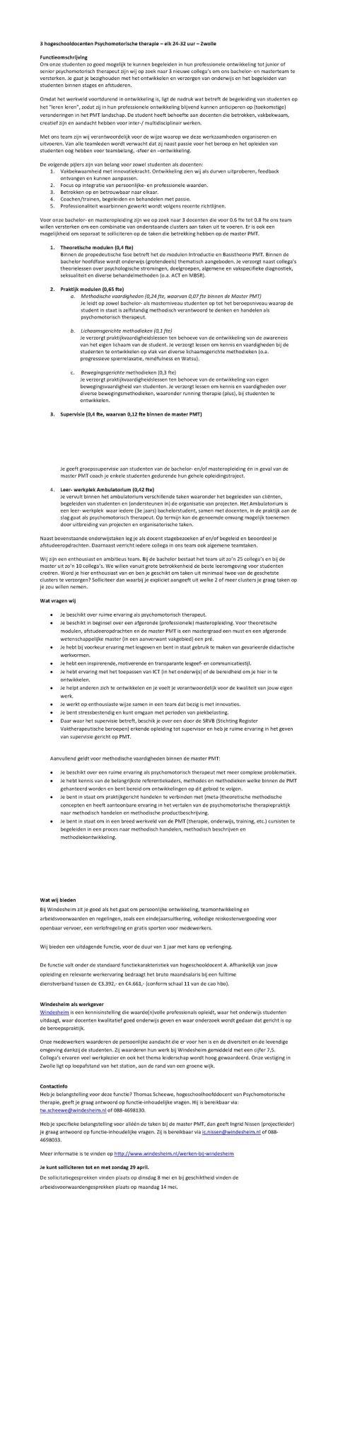 #vacature #docent #opleidingPMT 3x 24-32 uur p/w Zwolle #windesheim https://t.co/WrRpT92bim