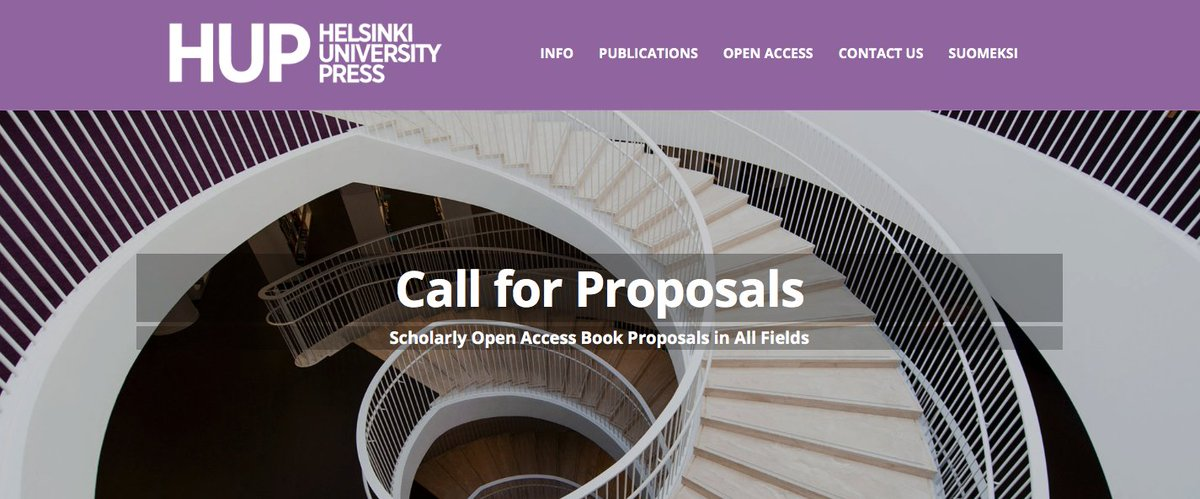 A new #OpenAccess academic publisher is in town! They welcome proposals for both #OA monographs and edited volumes in all fields of research:  https:// hup.fi/callforproposa ls/ &nbsp; …  #publishing #noAPCs #OpenScience<br>http://pic.twitter.com/xk3JJwYeQJ