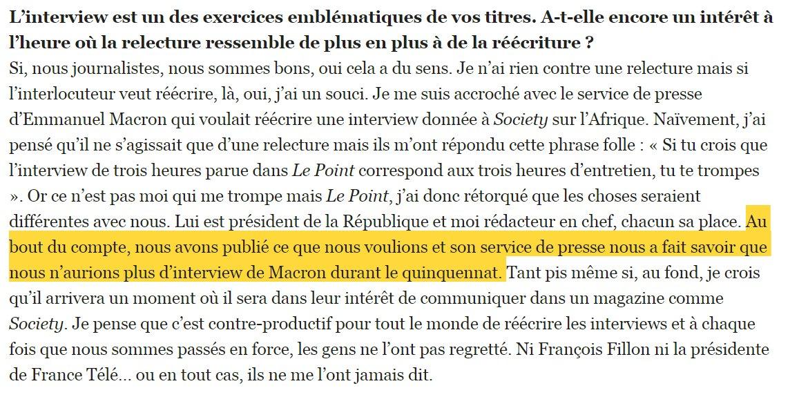 Franck Annese raconte avoir refusé la ré-écriture par l'Elysée d'une itw d'Emmanuel Macron dans Society, et s'être fait taper sur les doigts : 'Son service de presse nous a fait savoir que nous n'aurions plus d'interview de Macron durant le quinquennat' https://t.co/SxLaaG6NMP