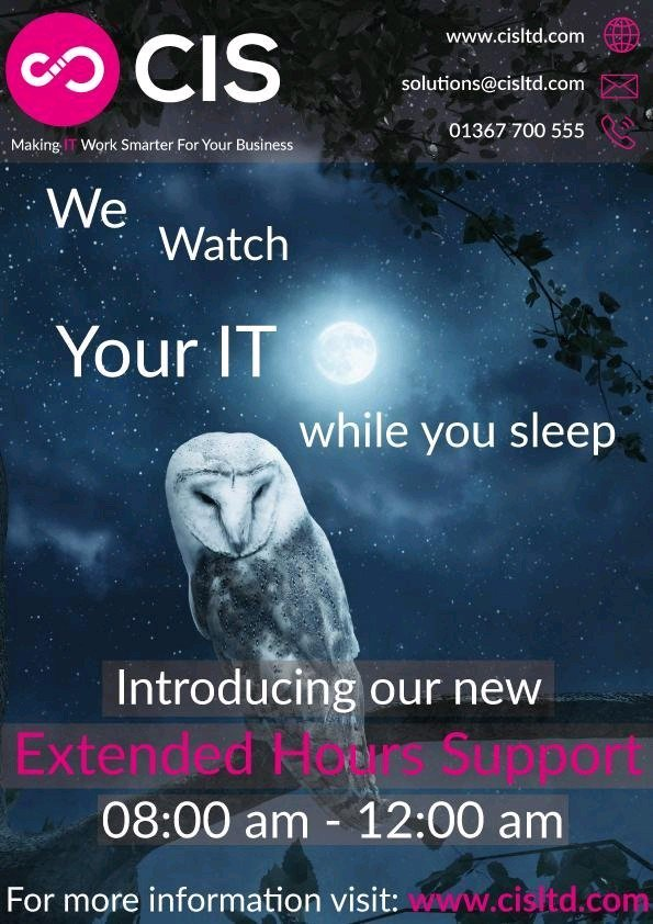 Rest easy knowing our night owls are taking care of your IT.  Introducing out Extended Hours Support #ITSupport