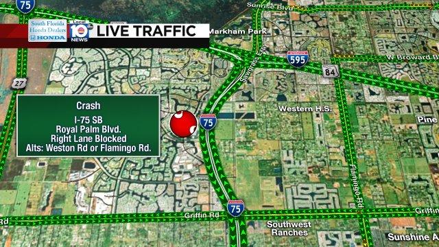 UPDATE/FATAL CRASH: I-75 SB & Royal Palm Blvd  A right lane is