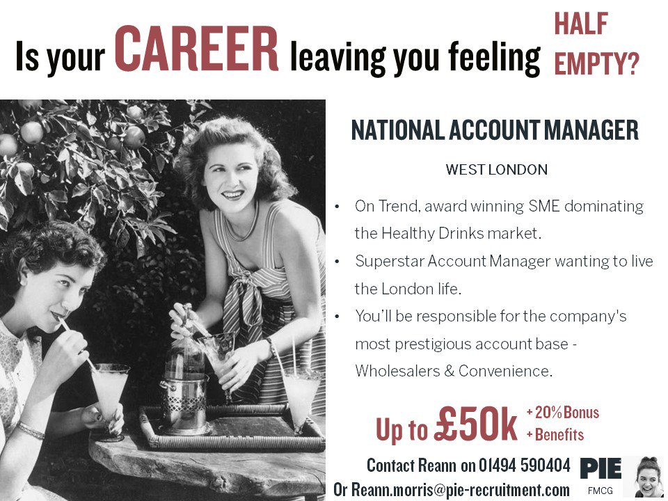 Don&#39;t let your #career leave you feeling half empty  This #healthy #drinks business is looking to add a superstar to their #Sales Team in #London! Call our #FMCG Team today to find out more - 01494 590404 &gt;&gt;  https:// bit.ly/2Ha7leW  &nbsp;   #recruitment<br>http://pic.twitter.com/yZL8XwZvhS