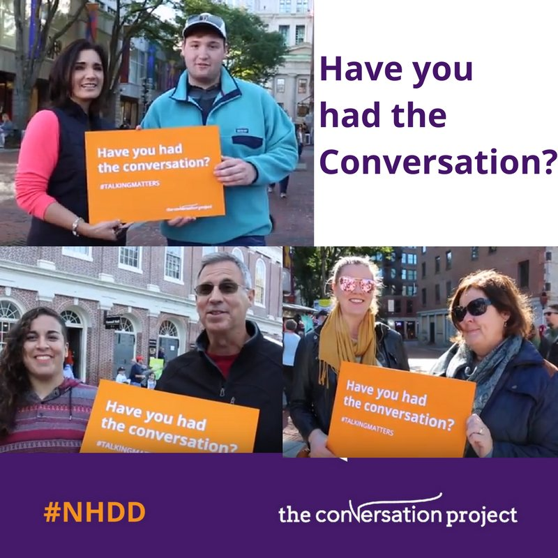 Today is dedicated as a day to discuss your wishes with others (and learn their wishes). Don't know how to start a conversation about planning ahead with your loved ones? Watch these videos for a spark of inspiration:  https:// goo.gl/sxKeF7  &nbsp;   #NHDD <br>http://pic.twitter.com/edMNfhrpQz