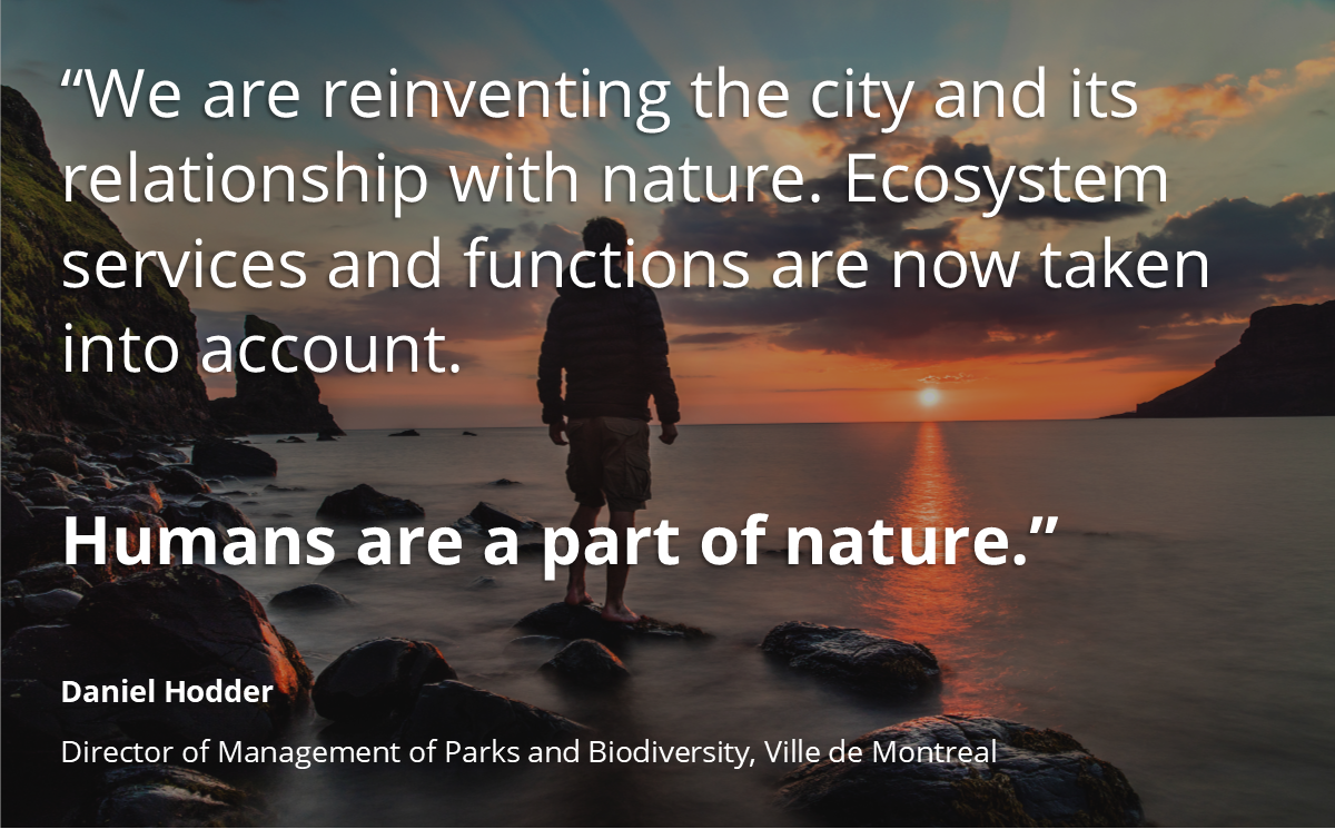 Daniel Hodder, Director of Management of Parks and #Biodiversity, Ville de #Montreal, speaking in the webinar on Innovative Approaches to #Nature-Based Solutions   More info: https://t.co/JFVxiBmKnC  #naturebasedsolutions
