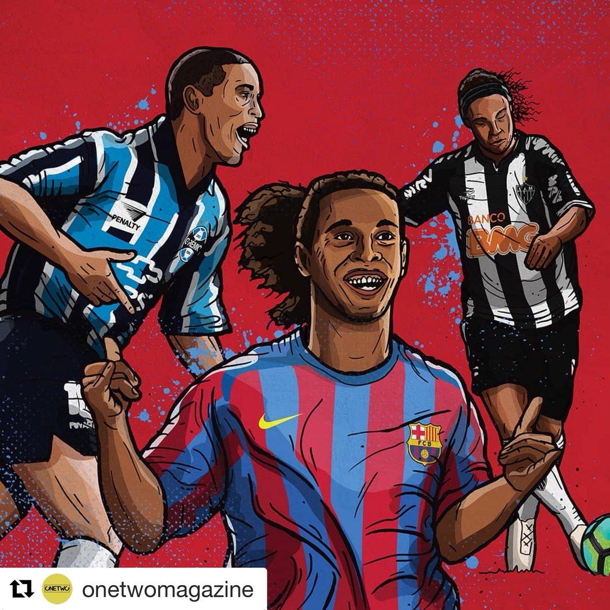 Recent work for @onetwomagazine of the great man himself @10Ronaldinho  #ronaldinho #FCBarcelona #Gremio #Minero #Brazil #footballart #illustration #onetwomagazine<br>http://pic.twitter.com/D7VA0vUDep