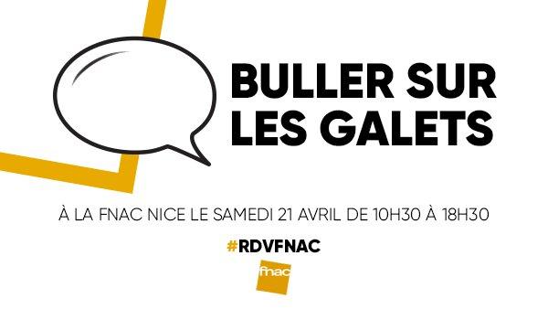 #RDVFnac La Fnac de Nice inaugure la première édition du salon #BullerSurLesGalets dédié entièrement à la bande-dessinée ce samedi 21 avril de 10h30 à 18h30 >> https://t.co/JeD8q51dtt