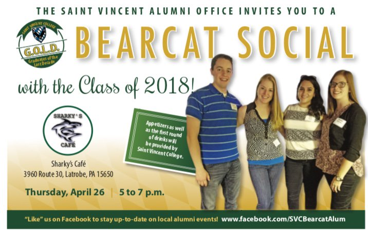 Saint vincent alumni on twitter gold alumni youre invited to gold alumni youre invited to join the class of 2018 at sharkys cafe on thursday 426 from 5 7pm enjoy a drink and apps on us publicscrutiny Choice Image