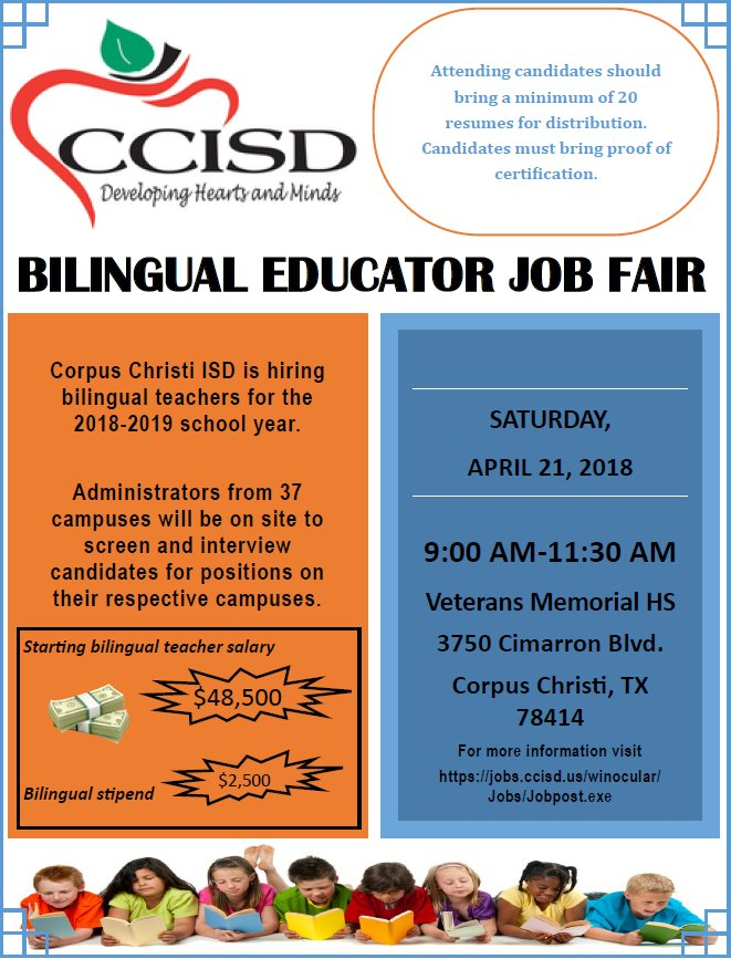 Ccisd On Twitter Ccisd Is Hiring Bilingual Teachers For The 2018