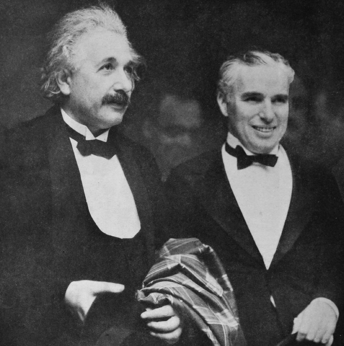 When Albert met Charlie:  Einstein: What I most admire about your art, is your universality. You don't say a word, yet the world understands you!  Chaplin: True. But your glory is even greater! The whole world admires you, even though they don't understand a word of what you say