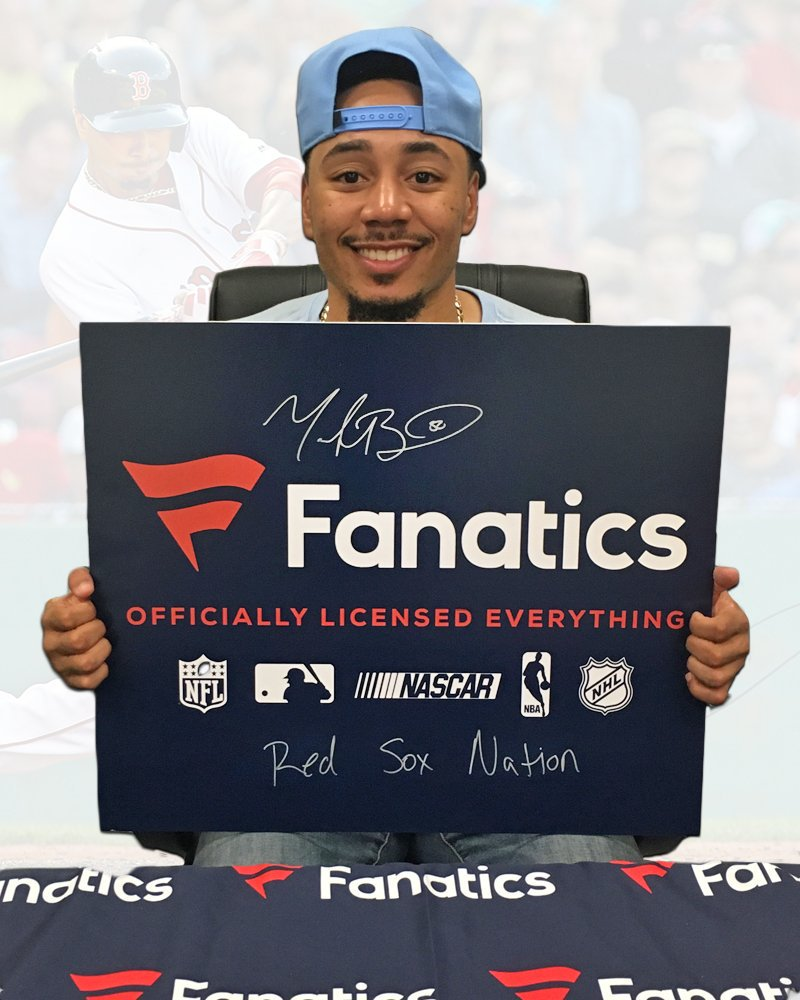 """RETWEET to enter to win this signed @mookiebetts @Fanatics poster with """"Red Sox Nation"""" inscription!  Winner selected tmrw at 12PM ET.  #DirtyWater"""