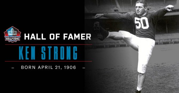 Hall of Fame HB Ken Strong was born OTD in 1906. Hall of Fame Enshrinement Class of 1967. Signed as a free agent with the Staten Island Stapletons in 1929 to begin his @NFL playing career.