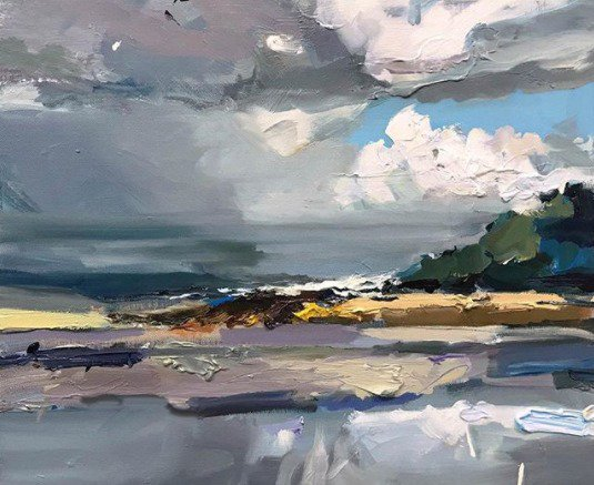 """Light, dark, horizon lines, headland. The simpler the premise the more I seem to find! Reflections echo clouds, warmth tempers the cool sea breeze. """"South Coast Sealight"""", 35X45cm #painting #artgallery #design #abstract #southcoast #sea #light <br>http://pic.twitter.com/zj7107uozr"""
