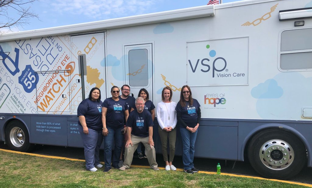 Special visit from <a target='_blank' href='http://twitter.com/VSPVisionCare'>@VSPVisionCare</a> today! Thank you <a target='_blank' href='http://twitter.com/CISofNOVA'>@CISofNOVA</a> <a target='_blank' href='http://twitter.com/CISNOVApm'>@CISNOVApm</a> for organizing this clinic and to the amazing staff of VSP for supporting local eye doctors, assisting the students pick out their new glasses, and creating glasses on site in the eyes of hope mobil clinic! <a target='_blank' href='https://t.co/5JFKHPTpxZ'>https://t.co/5JFKHPTpxZ</a>