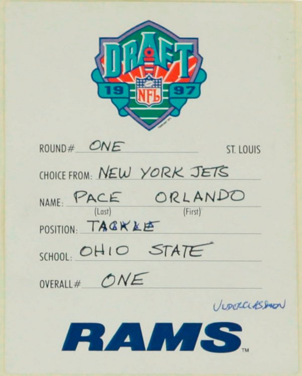 The #NFLDraft card of Hall of Famer @OrlandoPace_HOF. On this day 21 years ago (4/19/97), Pace was selected #1 overall in the 1997 @NFL Draft by the St. Louis Rams. #TBT