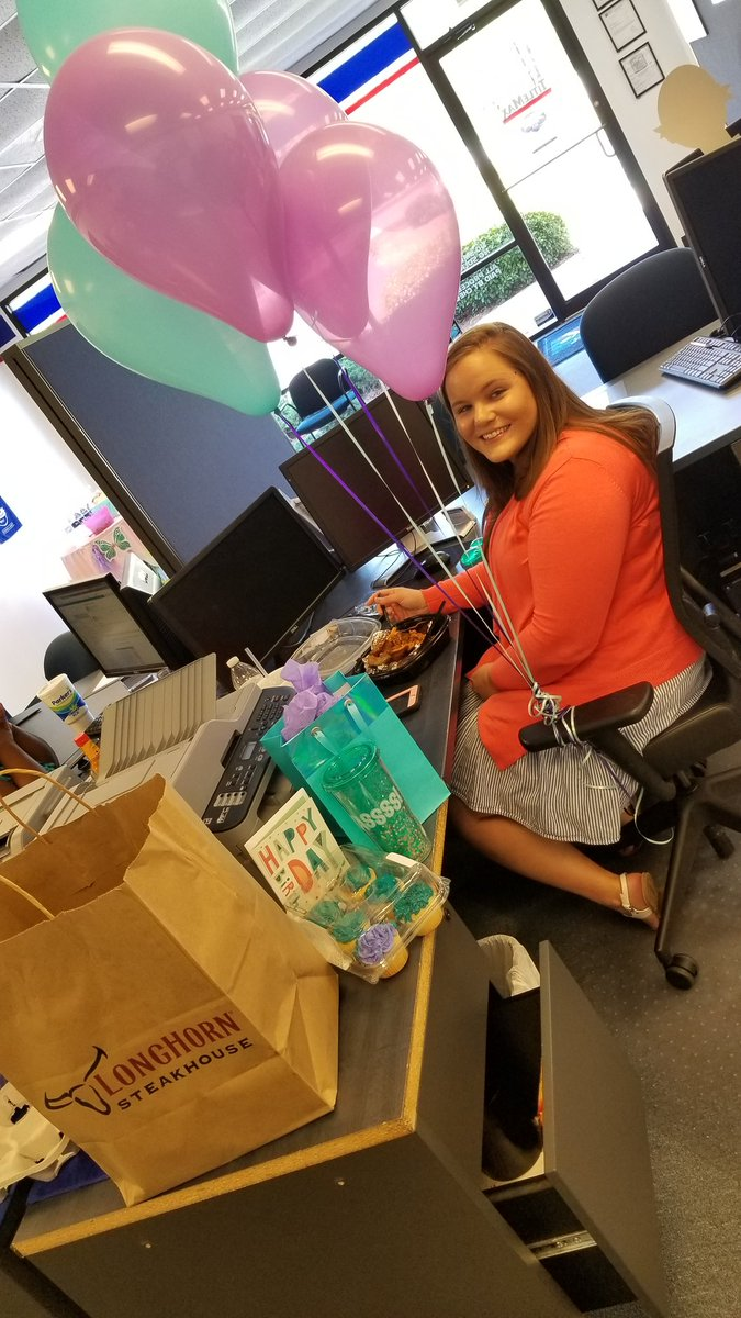 Our Team beat YoY yesterday, and today was our CSR, Charity&#39;s,  birthday! Sooooo, lunch on bosslady!  #theLadiesofBluffton #happybirthdayCharity #steakday #nomnomnom #wewillwinApril #tmxcompanies @frankeller0914<br>http://pic.twitter.com/cF6rI4ZeZ3