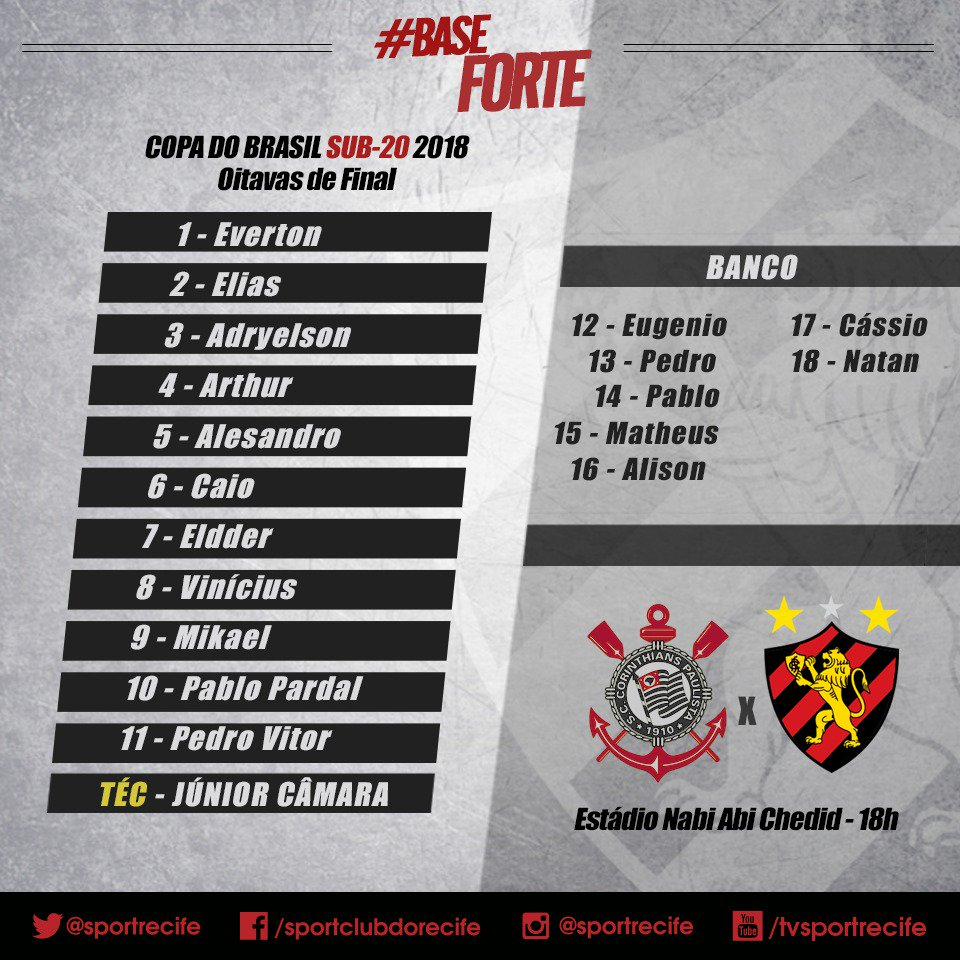 Sport Club Do Recife على تويتر Leao Escalado Daqui A Pouco A Bola Vai Rolar Para Corinthians X Sport Pelo Jogo Da Volta Das Oitavas De Final Da Copa Do Brasil Sub 20