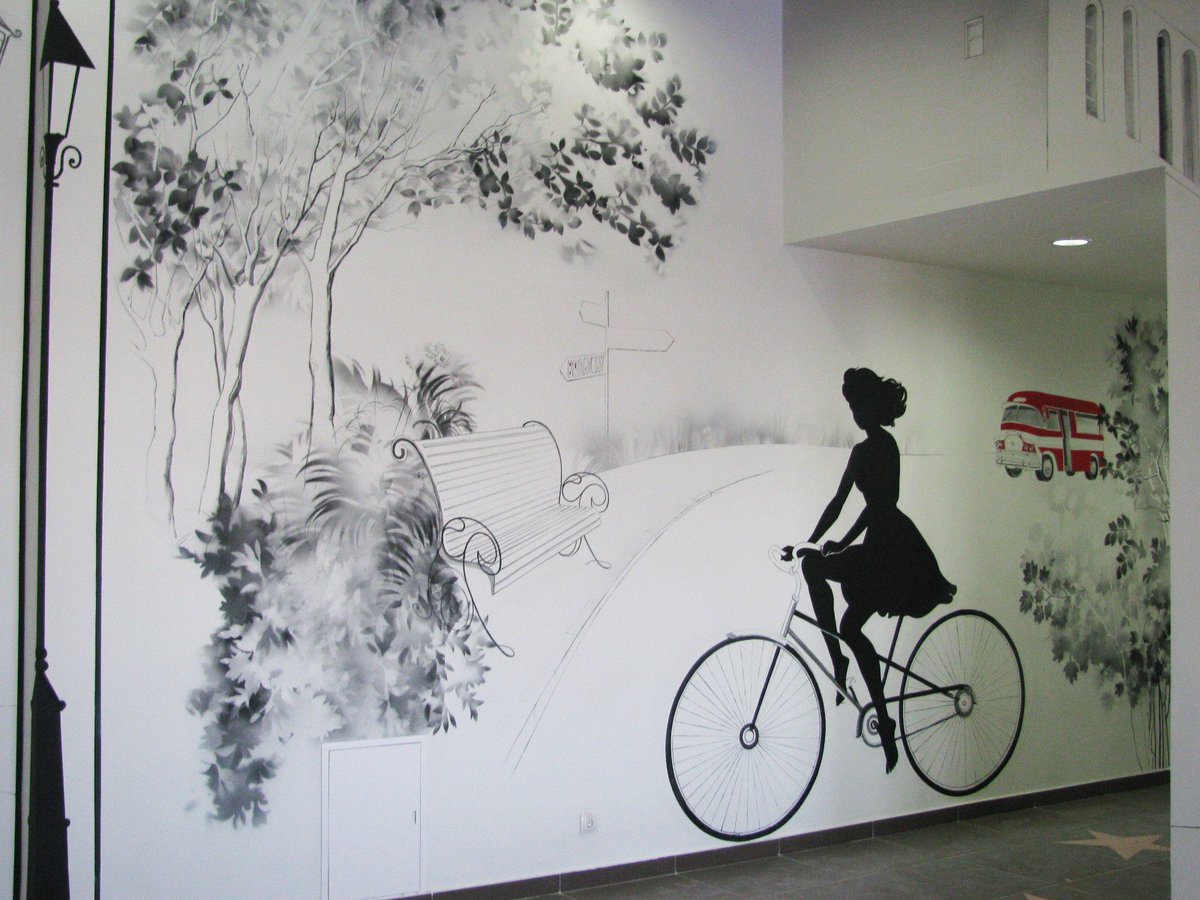 Tamara Pikulina On Twitter Girl On A Bicycle Wallpainting