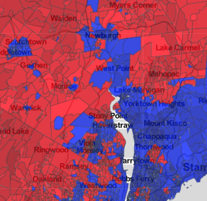Another acceptable definition is that Upstate begins where the zone of contiguous precincts that voted for Hillary Clinton ends. So Upstate begins once you get north of Newburgh/Beacon along the Hudson. But it starts further south inland from the Hudson.