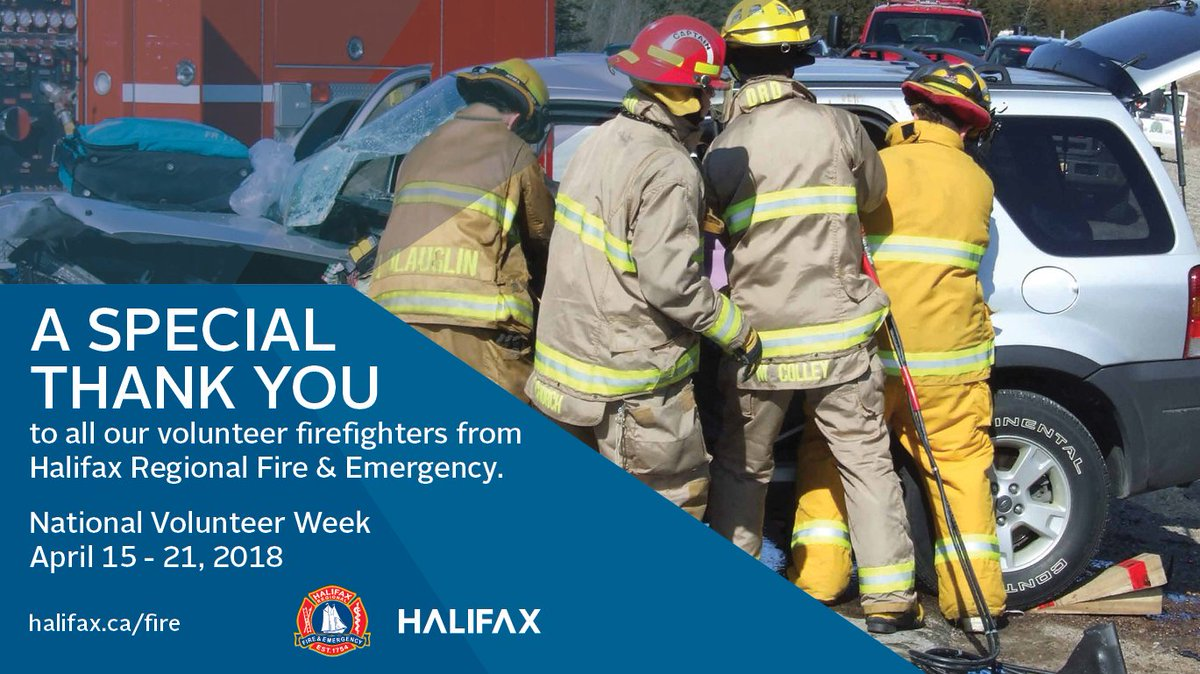 April 15 - 21 is National Volunteer Week. @hfxgov sends a special thank you to all our volunteer firefighters from @hfxfire #NationalVolunteerWeek2018 <br>http://pic.twitter.com/IsprcNYykk