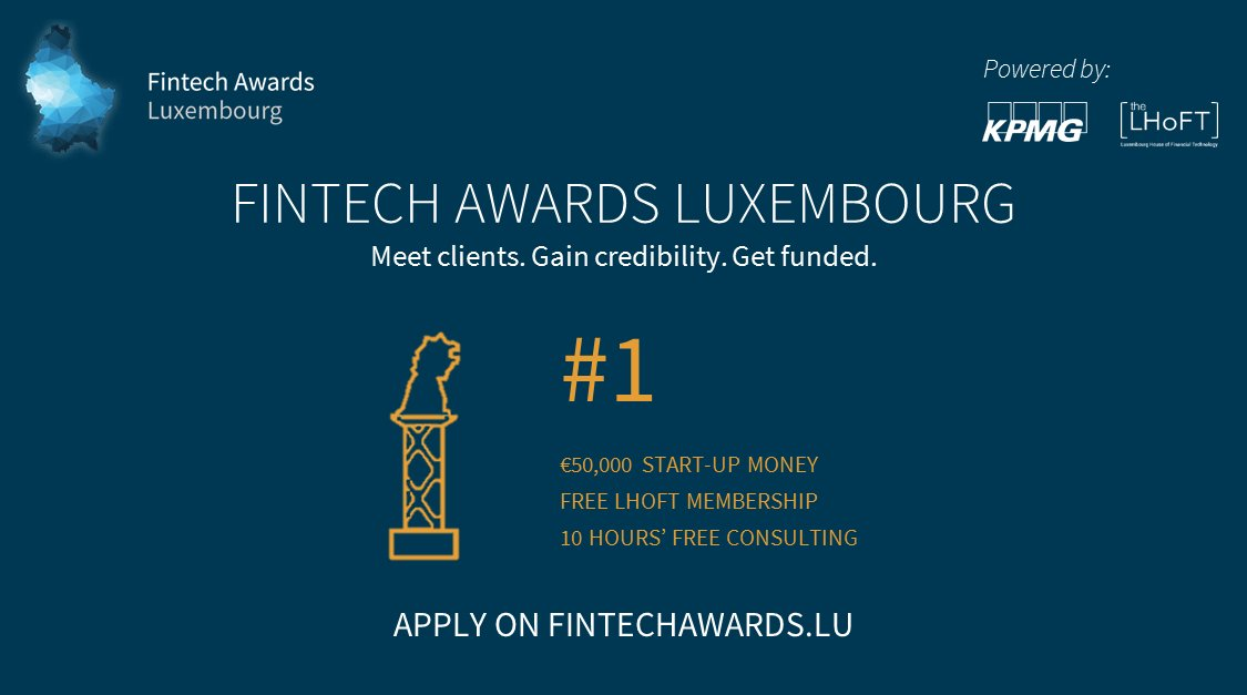 Join us and apply now for the upcoming Fintech Awards Luxembourg 2018! Deadline is April 30th.  Read more:  http:// bit.ly/2HfddQ9  &nbsp;    #Fintech #Accelerator #Startups #Incubator<br>http://pic.twitter.com/ZbKuzjM3hW