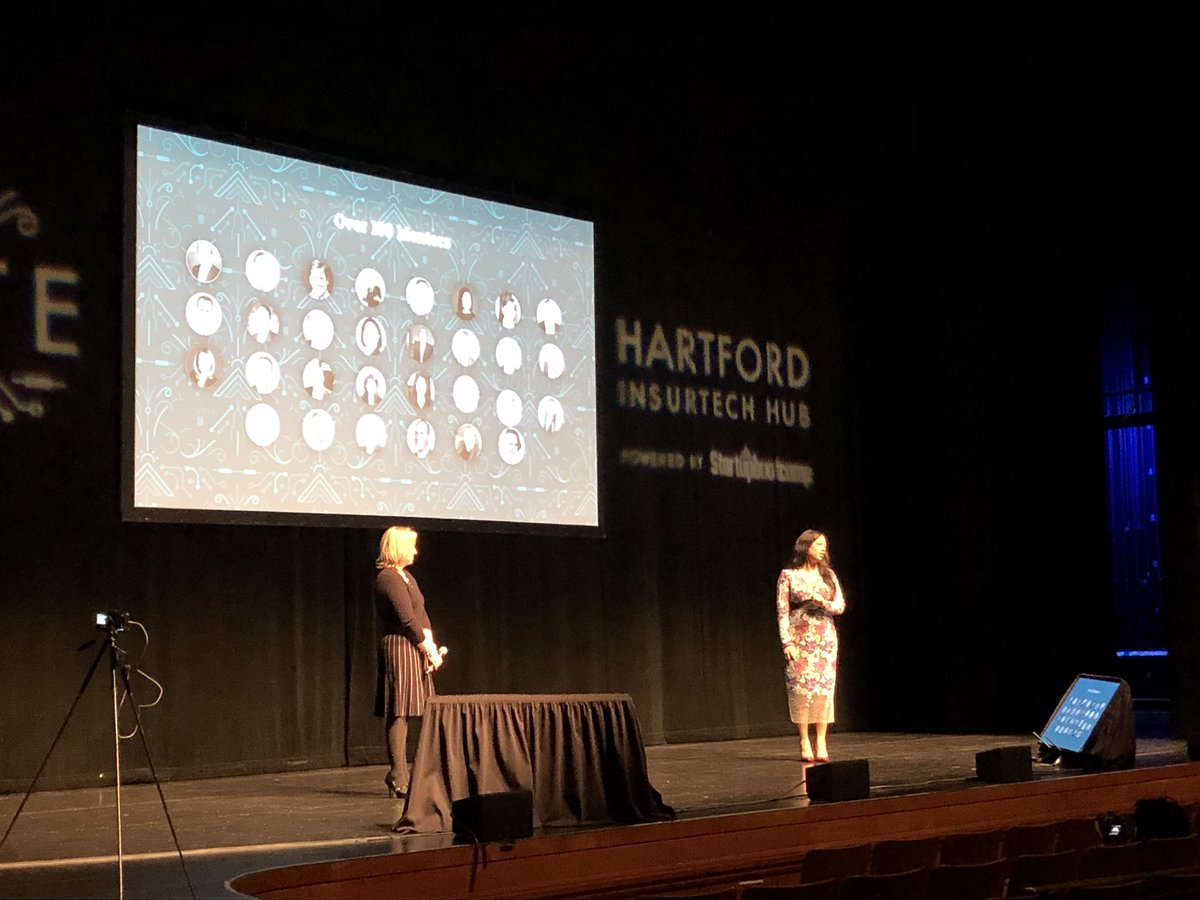 #InsurTech CEO, Sabine VanderLinden, and Michelle Cote, Managing Director @UConnCCEI, now on stage to acknowledge and thank everyone involved in strengthening the innovation ecosystem in #Hartford. #HIHDemoDay #Ignite<br>http://pic.twitter.com/CxOoOqwznP
