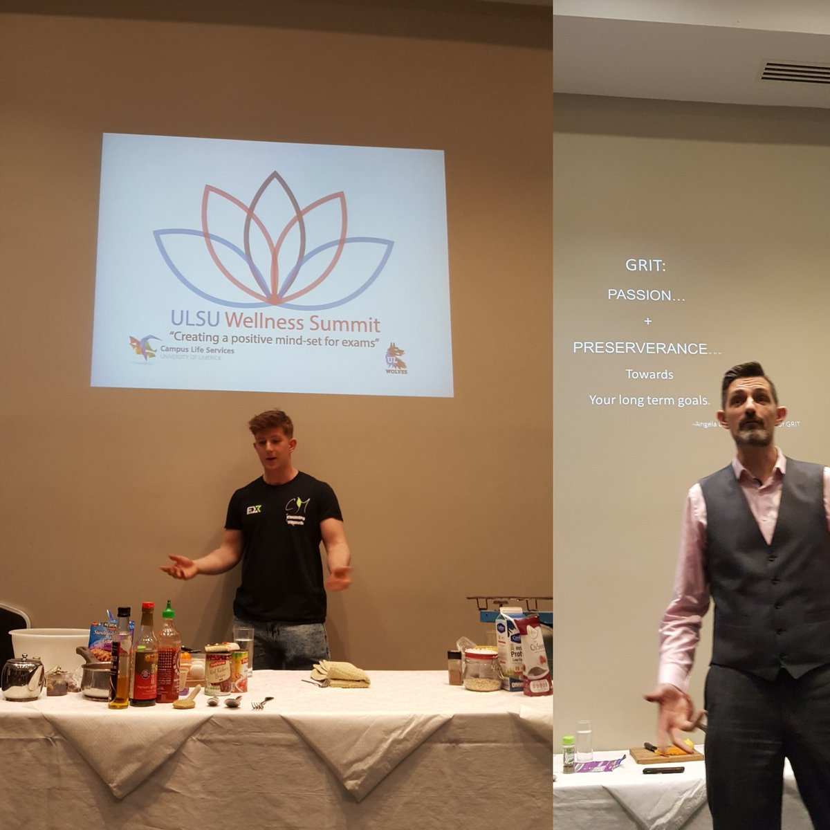 Tonight I, along with 100+ students, attended ULSU first wellness Summit &amp; it was class. 3 Limerick peeps gave great talks and demos on how to eat well, live well, be well, resilience &amp; grit #countrymunch #fit100 @ryanoreillyint @ulstudentsunion #studyatul @AccommodationUL<br>http://pic.twitter.com/yVzWDI5zlX