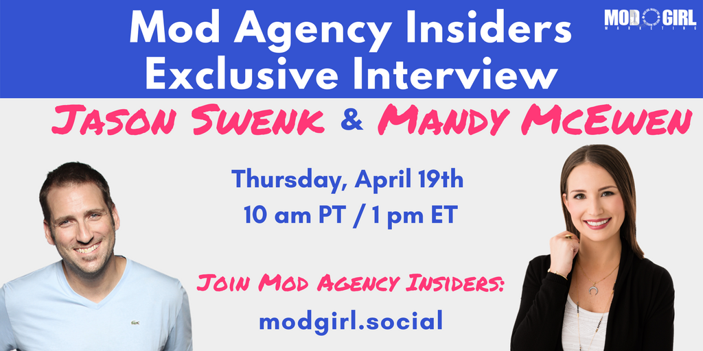 Revamp your #digitalagency's systems to boost conversion rates & grow your #business.   Find out how in my Facebook Live interview w/ @JSwenk on Thursday, April 19.   Join @ModGirlMktg's FB group to tune in: https://t.co/a6s8LzKEWm
