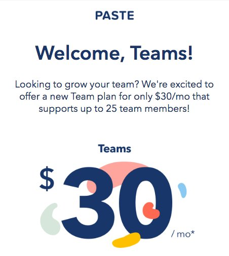 New Team pricing from Paste App from @FiftyThree is awesome https://t.co/pnji33FWcL