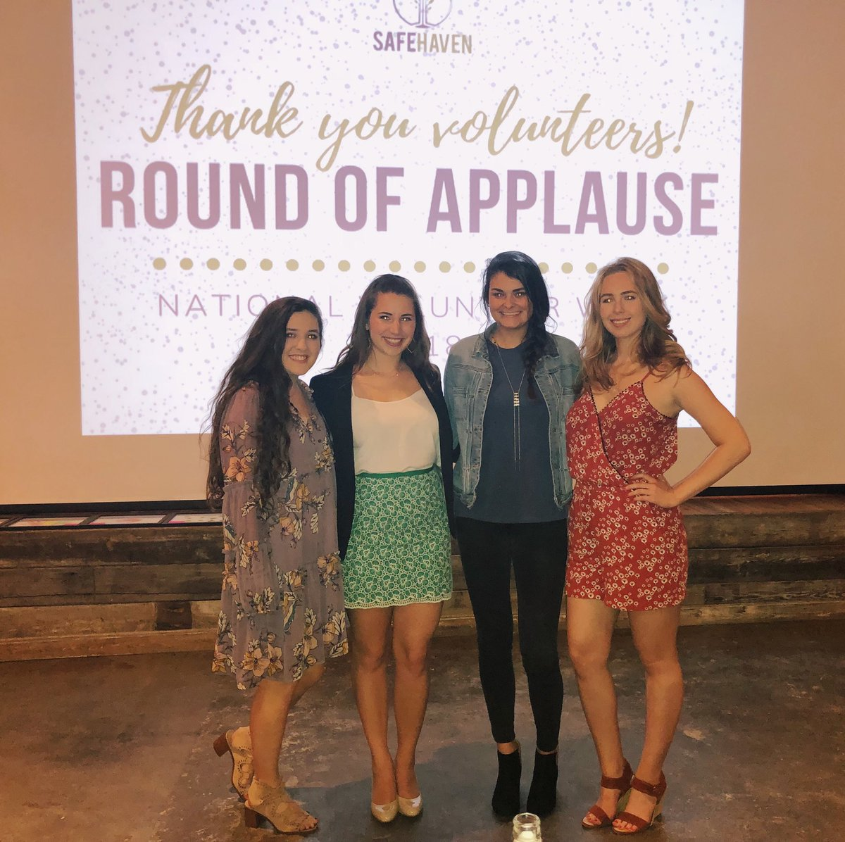 """Yesterday some of our sisters attended """"A Round of Applause Volunteer Appreciation Social"""" at our local shelter for women and children affected by domestic violence, SafeHaven. Let's put an END to domestic violence.  @AlphaChiOmegaHQ #NationalVolunteerWeek2018 <br>http://pic.twitter.com/QikBqbPO3h"""