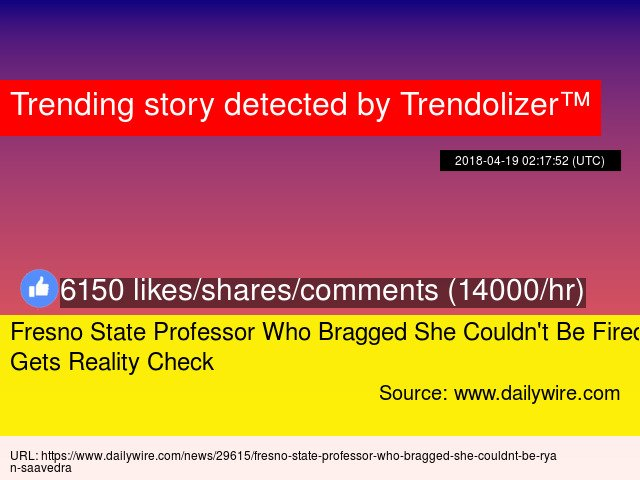 Fresno State #Professor Who Bragged She Couldn&#39;t Be Fired Gets Reality Check #sChiefAcademicOfficer #CAO...  http://www. trendolizer.com/2018/04/fresno -state-professor-who-bragged-she-couldnt-be-fired-gets-reality-check.html &nbsp; … <br>http://pic.twitter.com/gZs4rd3e8H