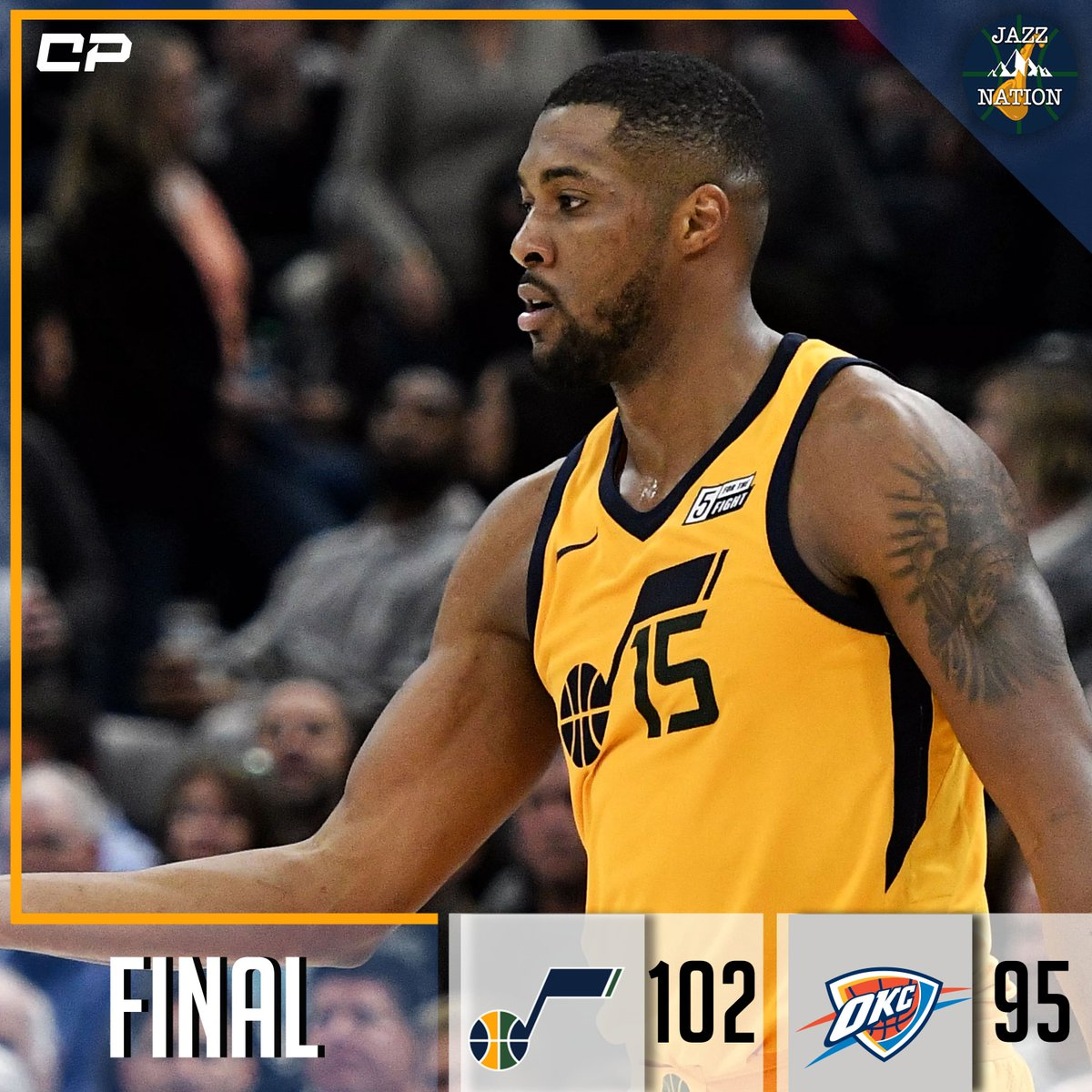 [FINAL] Jazz defeat Thunder, 102-95.  D. Favors: 20 Pts, 16 Reb, 3 Ast.  HIGHLIGHTS: bit.ly/ClutchPoints