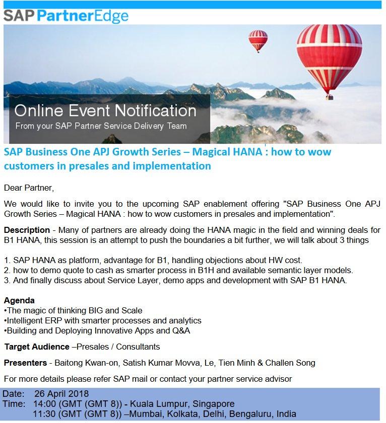 Anil B Marali MLE On Twitter Attend SAPBusinessOne APJ Growth
