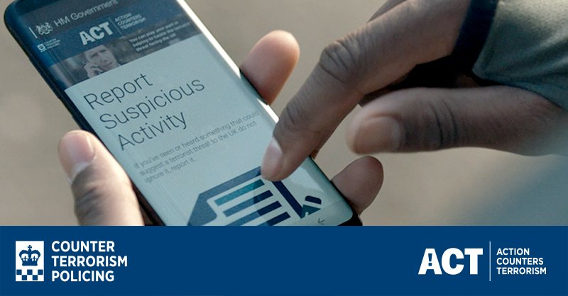 It only takes a moment to report suspicious activity. 📲 https://t.co/1DxgMTHMud  #ActionCountersTerrorism