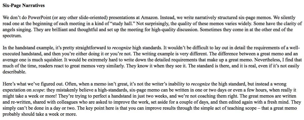 From @JeffBezos Amazon Shareholder Letter. Worth considering that a 6-page memo is ~3000 words which is a 12-14 minute read on Medium (12pt Times, normal spacing, some bullets, etc.)    I think this is fantastic. Writing is thinking.