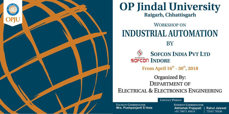 "We are delighted to share with you that Department of Electrical &amp; Electronics Engineering is organizing a 15 days' workshop on ""Industrial Automation"" for Electrical engineering students during April 16-30, 2018 at OPJU Campus.   #IndustrialAutomation #ElectricalEngineering<br>http://pic.twitter.com/OzKUR1MBYU"