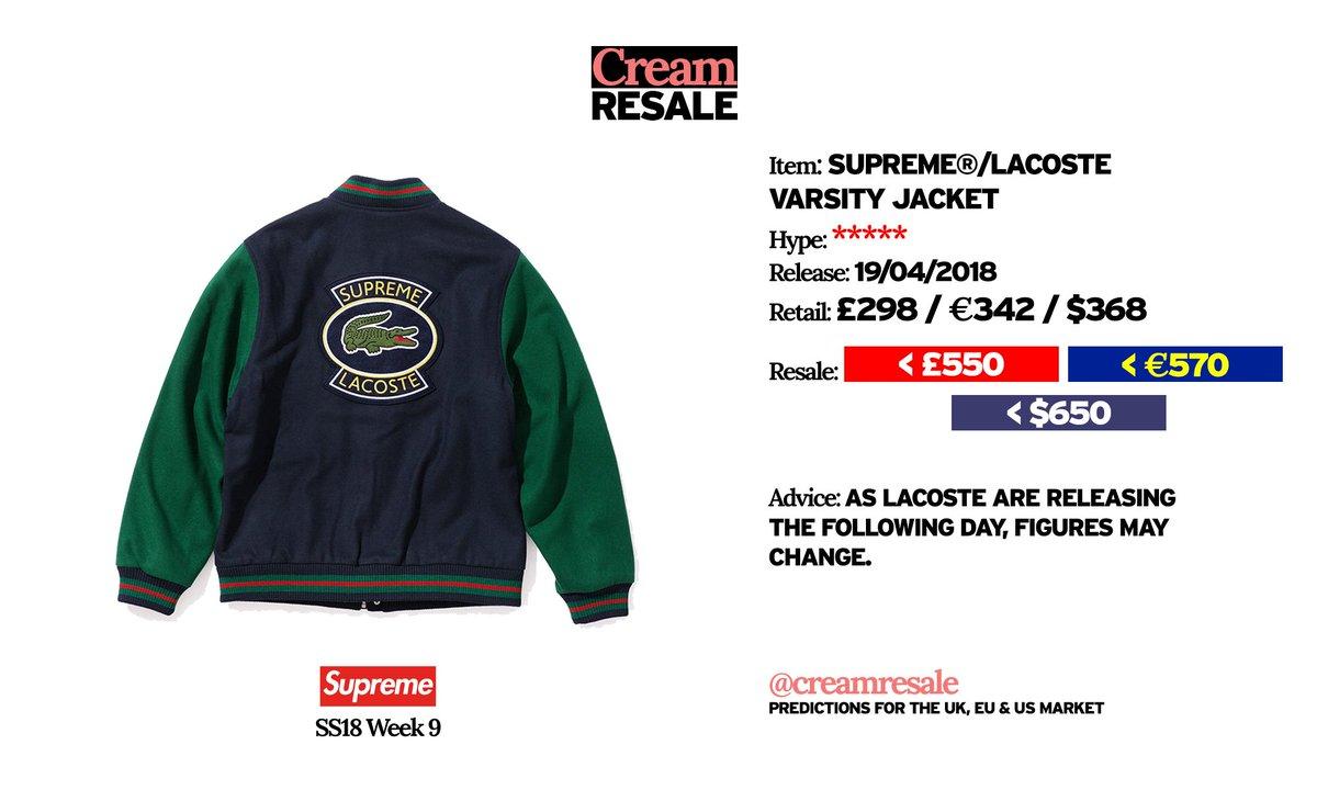 Cream Resale On Twitter Supreme Lacoste Varsity Jacket