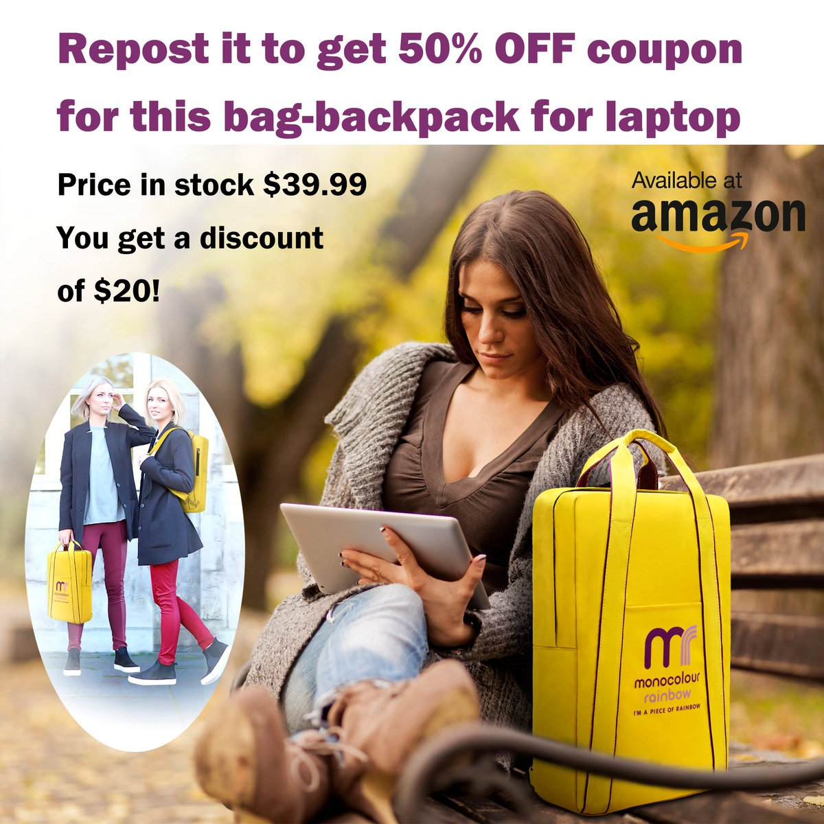 Get your $20 now! Make the repost of this offer now to get your coupon for 50% discount on a stylish bag-backpack for a laptop in fashion trend 2018.  #coupon #discount #style #bag #backpack #laptop #fashion #trend <br>http://pic.twitter.com/Opi9tTVIUa