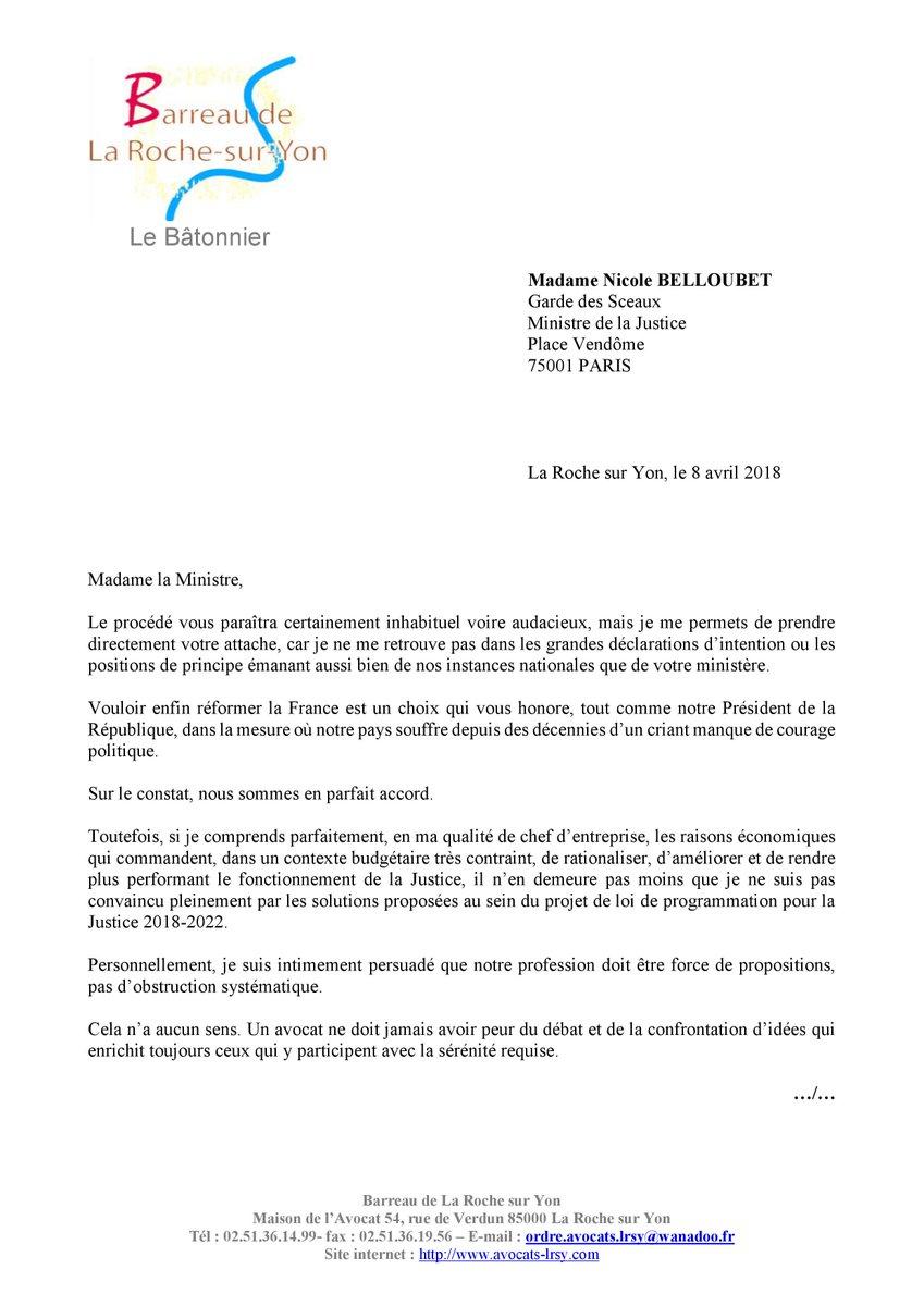 Barreau De La Roche Sur Yon Vendée Auf Twitter Lettre Du