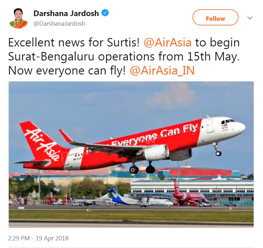 AirAsia to start Surat – Bengaluru flight from 15 May